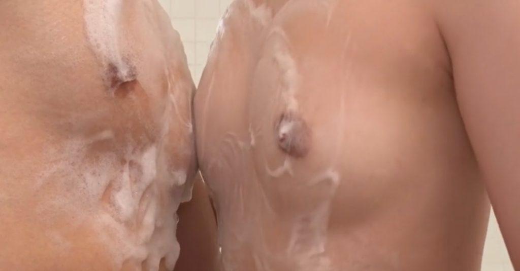 Ann Himukai rubs his body by her tits